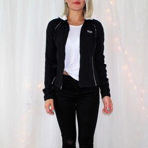 BEBE Sport Black Zip Up Fitted Athletic Jacket